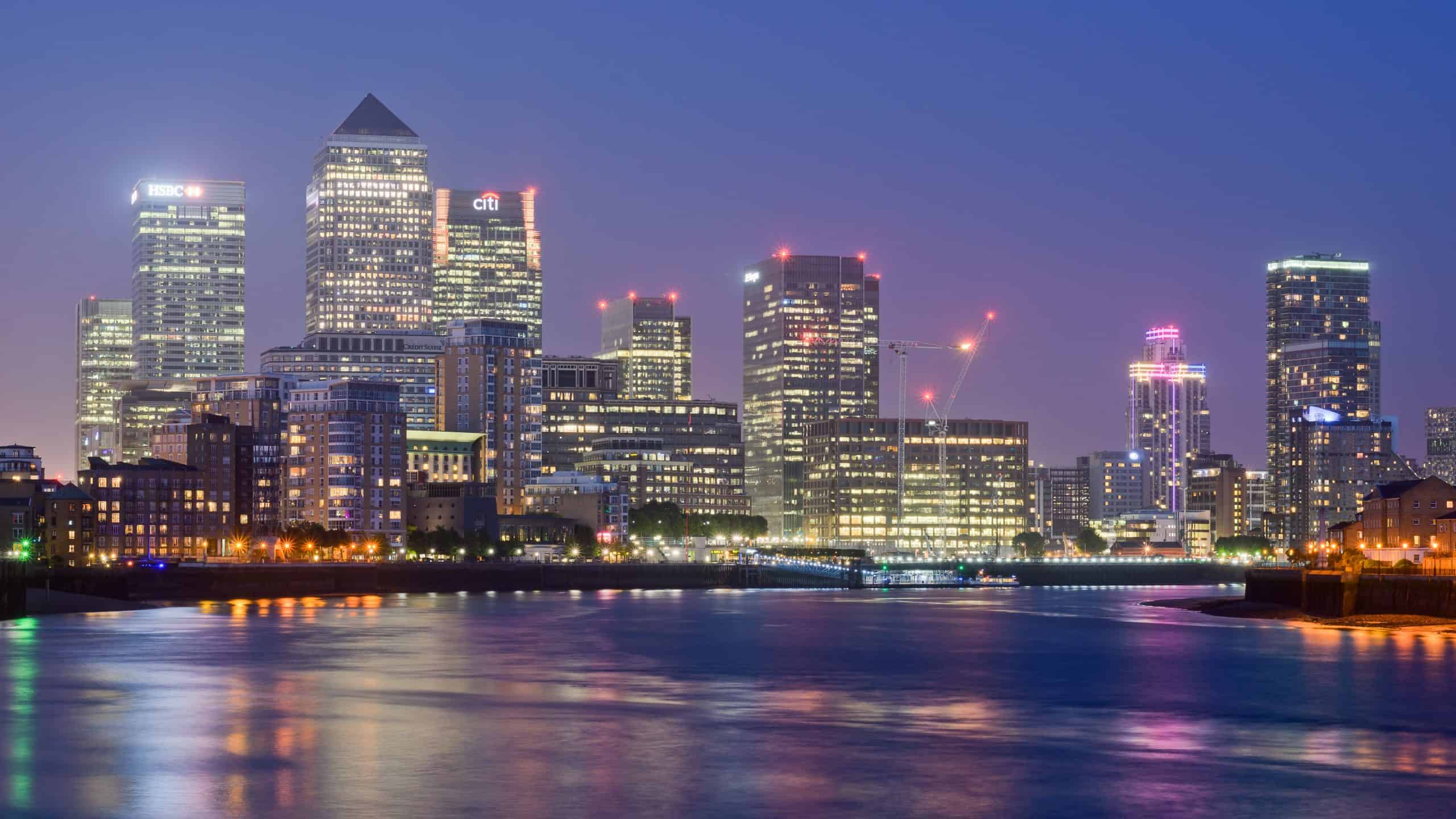 Image showing canary wharf by night, accountants